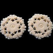 Vintage 1950s Chinese Carved Bone or Plastic Earrings Clip Unworn