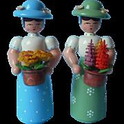 Erzgebirge Figures Vintage 2 Ladies Gardening Painted Wooden Lupines