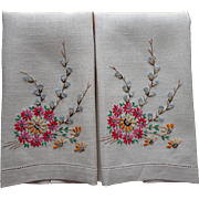 Guest Towels Vintage Hand Embroidered Linen Pussy Willows