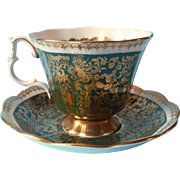 Royal Albert Cup Saucer Buckingham Series Green Vintage English Bone China
