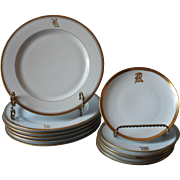 Monogram R Antique China Plates 6 Luncheon 6 Bread Gold White