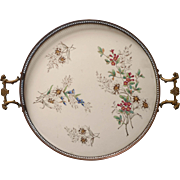 Antique Serving Tray China Metal Edelweiss Flowers Gallery Rim German Porcelain