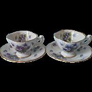 Rossetti Spring Violets 2 Demitasse Cup Saucer Vintage Occupied Japan China