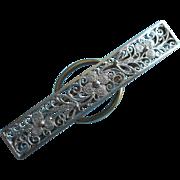 Vintage Tie BarClip 835 Silver Filigree European