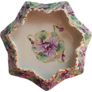 Antique Nippon Era Violets Hand Painted China Dish 7 Point Star Shape