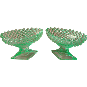 Pedestal Salt 2 Westmoreland Green English Hobnail Dish Dishes