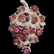 Hollycraft Vintage Pin Pink Rhinestones White Painted Metal