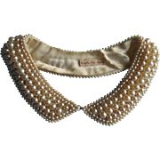 1950s Glass Pearl Faux Pearls Collar Vintage Japan