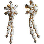 Vintage Milk Glass Earrings Long Drippy Rhinestones Dangle TLC