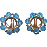 Napier Blue Cut Crystal Beads Vintage Earrings Clip Gold Tone