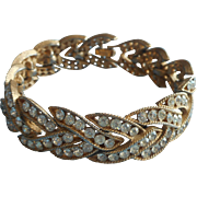 Crown Trifari Vintage Bracelet Rhinestone Braid Herringbone TLC