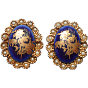 Limoges China Earrings Vintage Clip Cobalt Blue France Faux Pearls