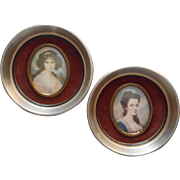 Vinate Pair Convex Glass Cameo Creations Portrait Ladies Round Frames