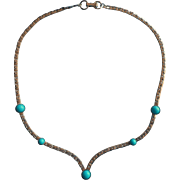 Vintage Sarah Coventry Necklace Silver Tone Metal Turquoise Colored Glass
