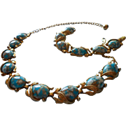 Vintage Set Turquoise Blue Mottled Art Glass Links Necklace Bracelet