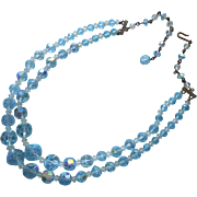 Vintage Necklace Blue AB Cut Crystal Beads 2 Strand Glass