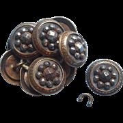 Victorian Cut Steel Buttons Brass Collars Set 9 Antique