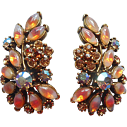 Vintage Earrings Givre Art Glass Fall Colors Rhinestones Long Clip