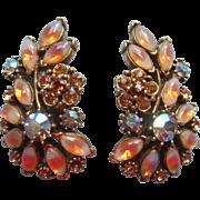 Vintage Earrings Givre Art Glass Fall Colors Rhinestones Long Clip