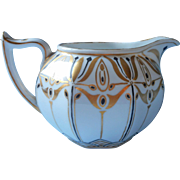 Antique Pitcher Creamer Hand Painted China Transtional Art Nouveau To Arts Crafts Black Gold