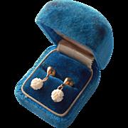 Vintage Pierced Earrings Tiny Carved Bone Ball Dangles