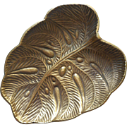 Virginia Metalcrafters Brass Leaf Vintage Dish Rare Monstera