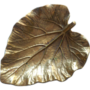 Virginia Metalcrafters Brass Vintage Rhubarb Leaf Dish Ashtray