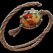 1960s Locket Pendant Necklace Vintage China Plaque Faux Pearls Tassel