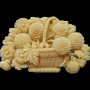 Vintage Celluloid Pin Flower Basket Flowers Japan