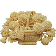 Vintage Celluloid Pin Flower Basket Flowers Japan