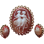 Vintage Cameo Large Brooch Pin Clip Earrings Set Resin