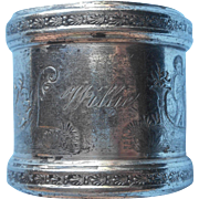 Willie Engraved On Antique Napkin Ring Silver Plated Victorian