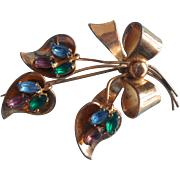 1940s Coro Sterling Vintage Pin Bow Colored Glass Stones Gold Plated