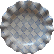 Mackenzie Childs Blue Checkered 11 Inch Ruffled Plate