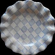 Mackenzie Childs Blue Checkered 11 Inch Ruffled Plate