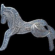 Vintage Filigree Horse Pin Sterling Silver Figural Delicate