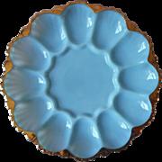 Delphite Blue Egg Plate Anchor Hocking Gold Trim Vintage Glass