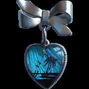 Vintage Butterfly Wing Pin Heart Shape Dangle Bow Island Scene