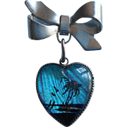 Vintage Butterfly Wing Pin Heart Shape Dangle Bow Island Scene