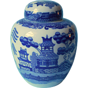 Blue Willow China Ginger Jar Tea Caddy Vintage Blue White