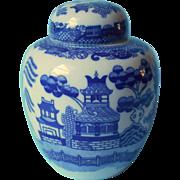 Blue Willow China Ginger Jar Tea Caddy Vintage Blue White