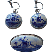 Vintage Delft China 800 Silver Pin Dangle Earrings Hand Painted