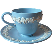 Wedgwood Queensware Demitasse Cup Saucer Blue White