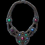 1930s Necklace Vintage Moonglow Stones Brass Renaissance Revival TLC