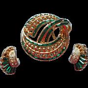 Corocraft Coro Pin Earrings Green Baguette Rhinestones Vintage TLC