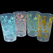 Vintage Glasses Tumblers Ivy Screen Print Aqua Pink Yellow Green