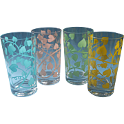 Vintage Glasses Tumblers Ivy Screen Print Aqua Pink Yellow Green