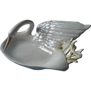 Vintage Fitz And Floyd Swan China Soap Trinket Dish 1981