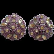 Vintage Featherlite Purple Molded Faux Carved Plastic Earrings Rhinestones