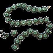 1930s Make Do Craft Sequins Beads Plastic Flowers Vintage Aqua Turquoise Color